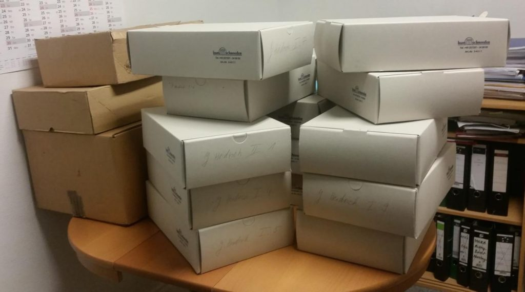 The boxes containing the estate of Joachim Heidrich at the archive of the Leibniz-Zentrum Moderner Orient