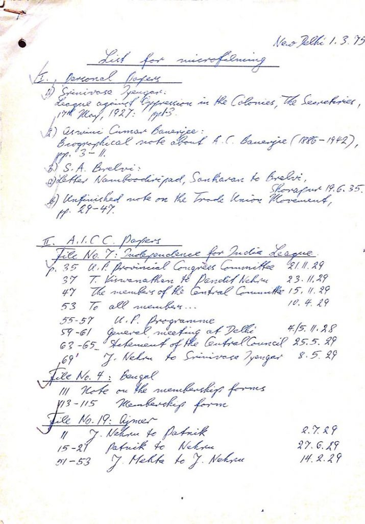 A handwritten list from the Joachim and Petra Heidrich papers at the archive of the Leibniz-Zentrum Moderner Orient