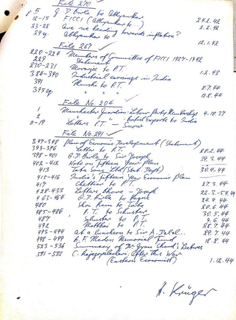 A handwritten list signed by Horst Krüger from the Joachim and Petra Heidrich papers at the archive of the Leibniz-Zentrum Moderner Orient