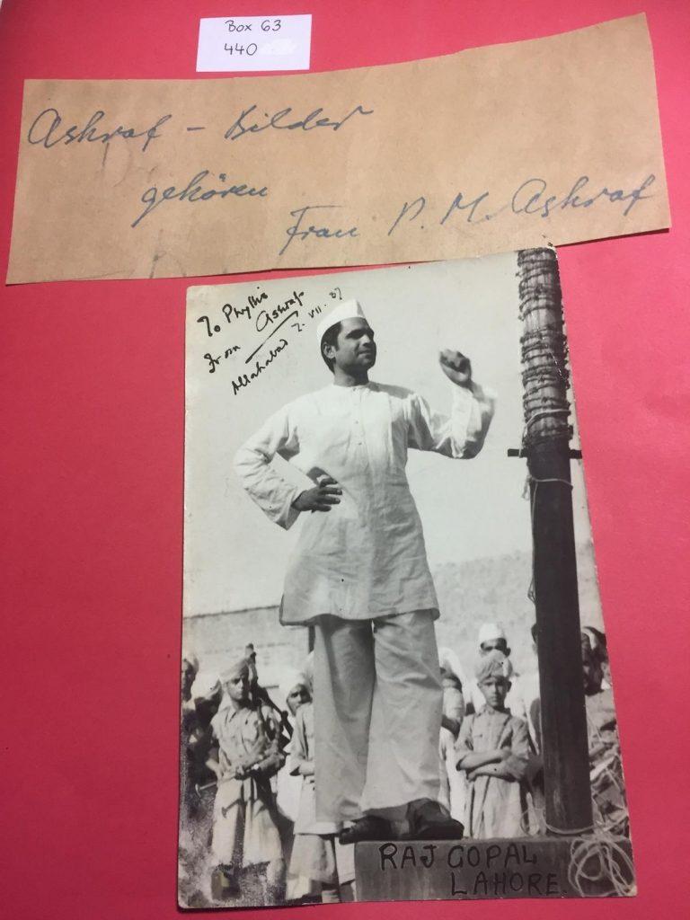 A picture of Kunwar Muhammad Ashraf in the Horst Krüger files at the archive of the Leibniz-Zentrum Moderner Orient