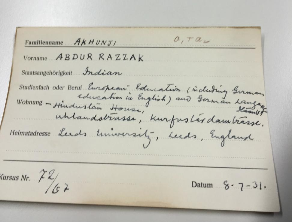 An Indian student's registration sheet from the archives of the Humboldt Universität zu Berlin