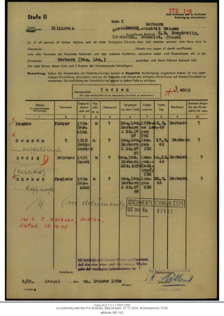 Death Certificate of four British-Indian soldiers contained in the Archive of the International Tracing Service