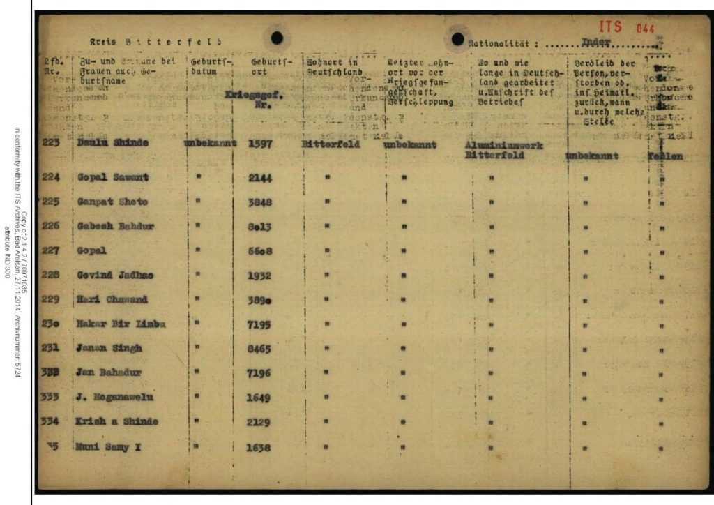 A page from the list of captive British-Indian labour employed in an aluminium factory in Bitterfeld contained in the International Tracing Service archives