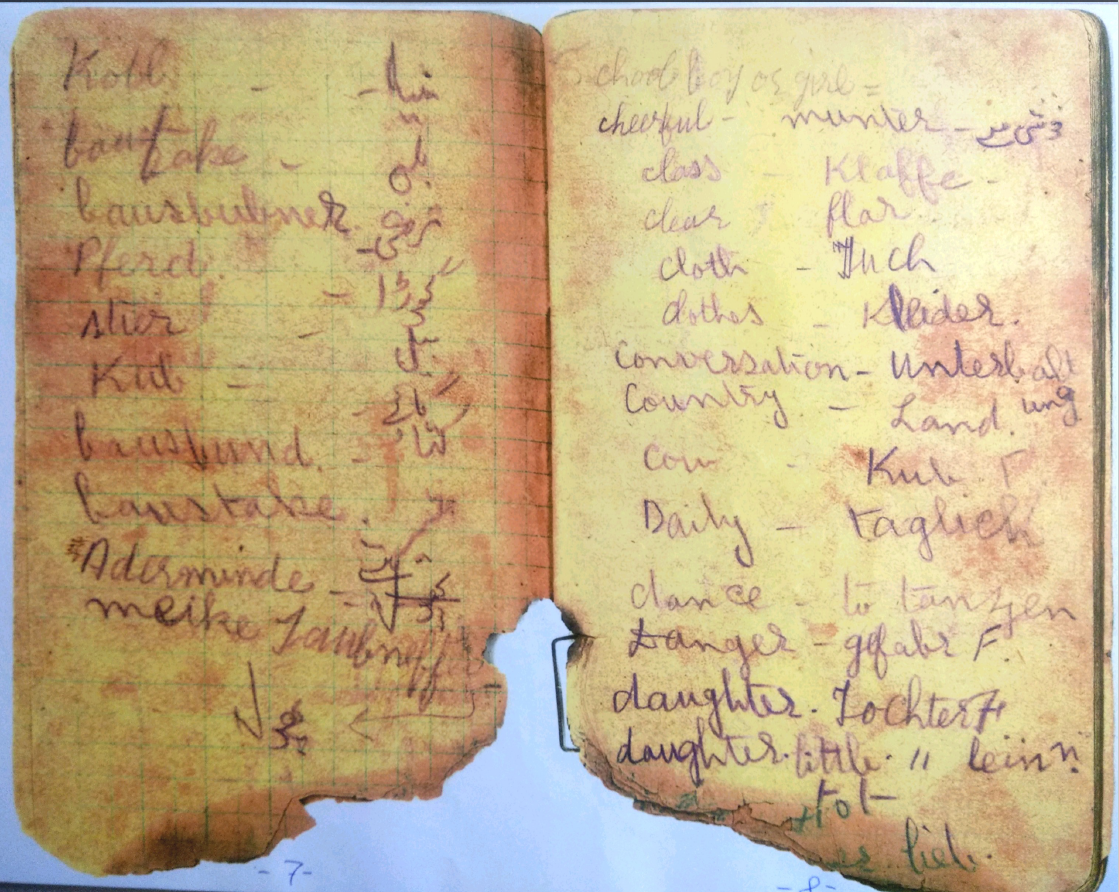 A page from Sohan Singh's prison diary containing translation of German words into Urdu and English.