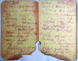 Another page from Sohan Singh's prison diary containing translation of German words into English.