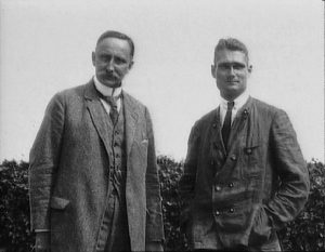 A photo of Karl Haushofer and Rudolf Hess standing outside