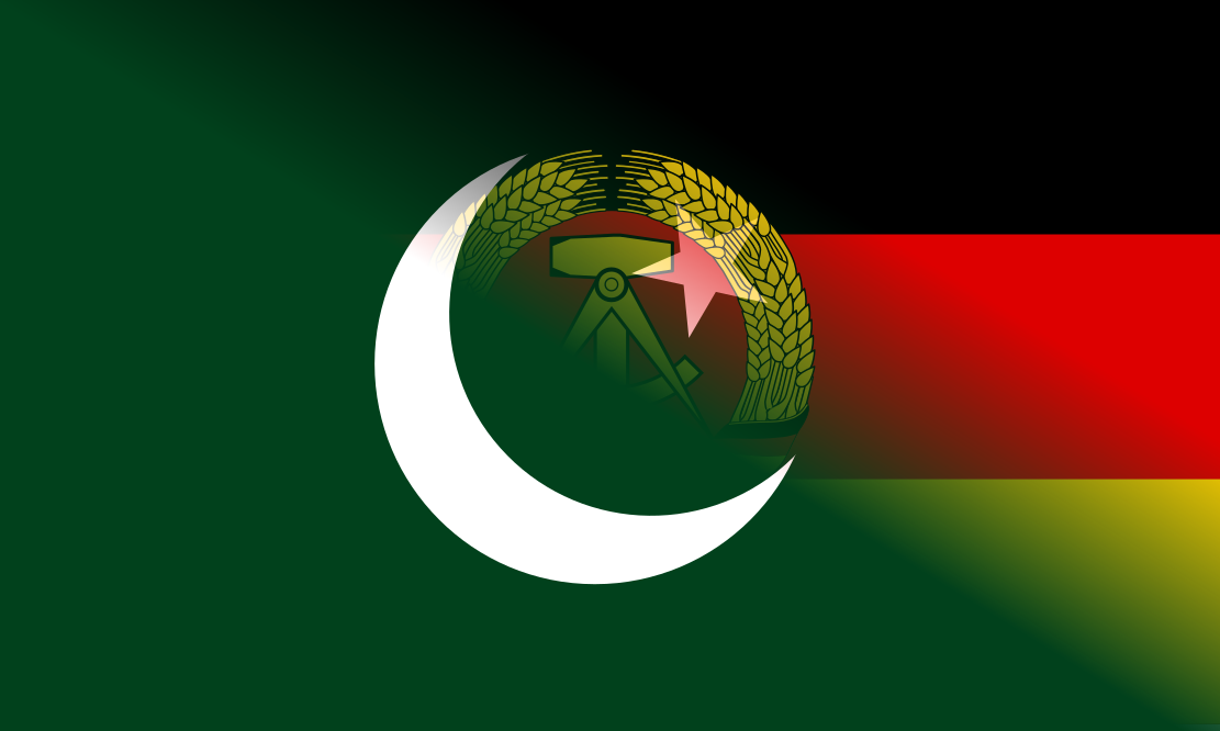 A blended image of the national flags of Pakistan and the GDR